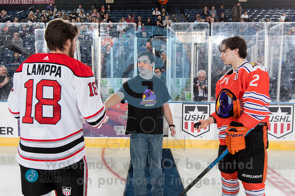 The Youngstown Phantoms lose 5-1 to the Waterloo Black Hawks at the Covelli Centre on February 29, 2020.<br /> <br /> Aiden Gallacher, defenseman, 2