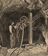 Drilling machine with diamond bit powered by compressed air, invented by the French civil engineer Rudolph Leschot (active 1863) being used to bore the Mont Cenis (Rejus Rail) tunnel connecting France and Italy.  Drilling began in August 1857 and the tunnel opened for rail traffic in September 1871. From 'The World of Wonders' (London, c1896).