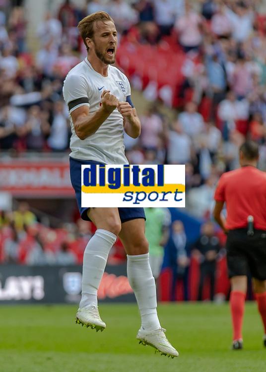 Football - 2018 International Friendly (pre-World Cup warm-up) - England vs. Nigeria<br /> <br /> Harry Kane (England) celebrates after scoring at Wembley Stadium.<br /> <br /> COLORSPORT/DANIEL BEARHAM
