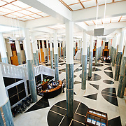 Main entrance to Parliament House in Canberra, Australia, with patterns of Australian marble and granite.