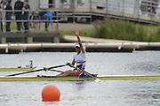 Eton Dorney, Windsor, Great Britain,..2012 London Olympic Regatta, Dorney Lake. Eton Rowing Centre, Berkshire[ Rowing]...Description: CZE W1X Mirka KNAPKOVA. celebrates winning the gold medal in the Women's Single Sculls, Dorney Lake..11:18:06  Thursday  02/08/2012..[Mandatory Credit: Peter Spurrier/Intersport Images].