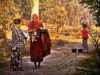 Faded Photo, Monk Receiving Alms, Luang Prabang, Laos