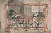 People entering a large temple. Outside are trading stalls. Print of a painting in a frame with feet, c1770. Utagawa Toyoharu (1735-1814) Japanese Ukiyo-e artist. Crowd Religion Worship