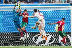 June 15, 2018 - Saint Petersburg, Russia - Monir El Kajoui (#12) of Morocco saves during the 2018 FIFA World Cup Russia group B match between Morocco and Iran at Saint Petersburg Stadium on June 15, 2018 in Saint Petersburg, Russia. (Credit Image: © Foto Olimpik/NurPhoto via ZUMA Press)