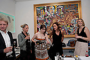 ANNA ABRAMOVICH; LAUREN MEZZINA; MELISSA DIGBY-BELL,  Private view and Summer party for Scream Now. An exhibitio of new work by gallery artists. Bruce French,, Derrick Santini, Greg Miller, Malgosia Stepnik, Pakpoom Silaphan, Petroc Sesti, Russell Young. Scream. Bruton st. London. 4 August 2011. <br /> <br />  , -DO NOT ARCHIVE-© Copyright Photograph by Dafydd Jones. 248 Clapham Rd. London SW9 0PZ. Tel 0207 820 0771. www.dafjones.com.