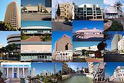 Tel Aviv, Israel, 16 image collage of architecture landmarks in the city