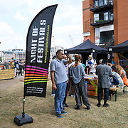 Night of Festivals London with artists, theatre makers and street performers from across Europe at Bernie Spain Gardens on July 21 2018, London, UK.