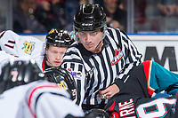 KELOWNA, CANADA - OCTOBER 20: Linesman Tim Plamondon drops the puck at centre ice between the Portland Winterhawks and the Kelowna Rockets on October 20, 2017 at Prospera Place in Kelowna, British Columbia, Canada.  (Photo by Marissa Baecker/Shoot the Breeze)  *** Local Caption ***