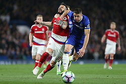 8 May 2017 - Premier League Football - Chelsea v Middlesbrough<br /> Alvaro Negredo of Boro reacts after being elbowed in the face by Gary Cahill of Chelsea<br /> Photo: Charlotte Wilson