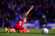 Lee Peltier of Cardiff City appeals for a free kick .EFL Skybet championship match, Birmingham city v Cardiff city at St.Andrew's stadium in Birmingham, the Midlands on Friday 13th October 2017.<br /> pic by Bradley Collyer, Andrew Orchard sports photography.