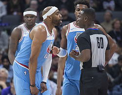 March 19, 2018 - Sacramento, CA, USA - Sacramento Kings guard Vince Carter (15) contest a foul call to referee James Williams (60) against the Detroit Pistons on during their game at the Golden 1 Center Monday, March 19, 2018 in Sacramento, Calif. The Pistons won, 106-90. (Credit Image: © Hector Amezcua/TNS via ZUMA Wire)