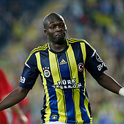 Fenerbahce's Moussa Sow celebrating his goal during their Turkish Superleague soccer match Fenerbahce between Gaziantepspor at the Sukru Saracaoglu stadium in Istanbul Turkey on Saturday 25 August 2012. Photo by TURKPIX