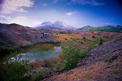 Tarn in thr Hummocks with Mt. St. Helens, Mt. St. Helens National Volcanic Monument, Washington, US