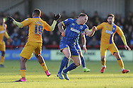 Barry Fuller (Captain) of AFC Wimbledon in action  during the Sky Bet League 2 match between AFC Wimbledon and Mansfield Town at the Cherry Red Records Stadium, Kingston, England on 16 January 2016. Photo by Stuart Butcher.