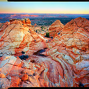 Sunrise on Sandstone, Coyote Buttes, Arizona. 4x5 Kodak Ektar 100. photo by Nathan Lambrecht