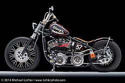 """Stacy McCleary's 88"""" Pandemonium Panhead rigid wishbone Chopper. Photographed by Michael Lichter on January 9, 2014. ©2014 Michael Lichter"""