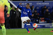 Ricardo Pereira (21) crosses the new Premier League Tunnel Vision Merlin Ball during the Premier League match between Leicester City and Manchester City at the King Power Stadium, Leicester, England on 22 February 2020.