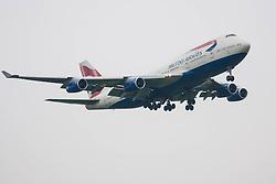 London Heathrow Airport, November 16th 2014. A British Airways Boeing 747-400 reg. G-BNLY moments before touchdown on Heathrow Airport's runway 09L.
