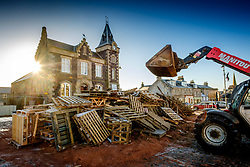 Building the hogmanay bonfire in Biggar on Sunday 10th December.  Work starts on 1st December and continues throughout the month.  By hogmanay it will be the size of a two storey house and will be lit this year by Biggar resident Mrs Dorothy Frame at 9.30pm on hogmanay.<br /> <br /> (c) Andrew Wilson   Edinburgh Elite media