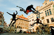 Acrobats in the old section of Prague.