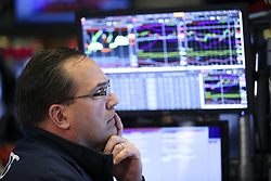 May 13, 2019,  New York, New York, U.S.: A trader works at the New York Stock Exchange. U.S. stocks ended lower on Monday as China Trade War continues. The Dow fell 2.38 percent to 25,324.99, and the S&P 500 was down 2.41 percent to 2,811.87, while the Nasdaq fell 3.41 percent to 7,647.02. (Credit Image: © Xinhua via ZUMA Wire)