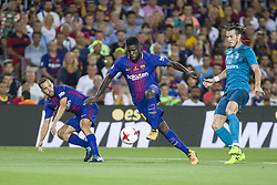 August 13, 2017 - Barcelona, Spain - Samuel Umtiti and Gareth Bale during the match between FC Barcelona - Real Madrid, for the first leg of the Spanish Supercup, held at Camp Nou Stadium on 13th August 2017 in Barcelona, Spain. (Credit: Urbanandsport / NurPhoto) (Credit Image: © Urbanandsport/NurPhoto via ZUMA Press)