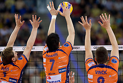 Andrej Flajs,  Matevz Kamnik and Dejan Vincic of ACH at  match for 3rd place of CEV Indesit Champions League FINAL FOUR tournament between PGE Skra Belchatow, POL and ACH Volley Bled, SLO on May 2, 2010, at Arena Atlas, Lodz, Poland.  (Photo by Vid Ponikvar / Sportida)