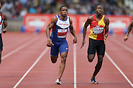 Chijindu Ujah competing in the Men's 100m Semi-Final race. The British Championships 2016, athletics event at the Alexander Stadium in Birmingham, Midlands  on Saturday 25th June 2016.<br /> pic by John Patrick Fletcher, Andrew Orchard sports photography.
