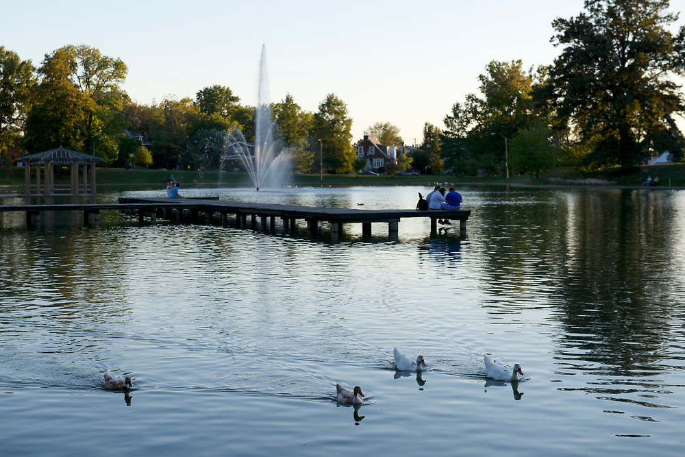 Boathouse Lake at Carondelet Park in St. Louis, Missouri on October 8, 2013.