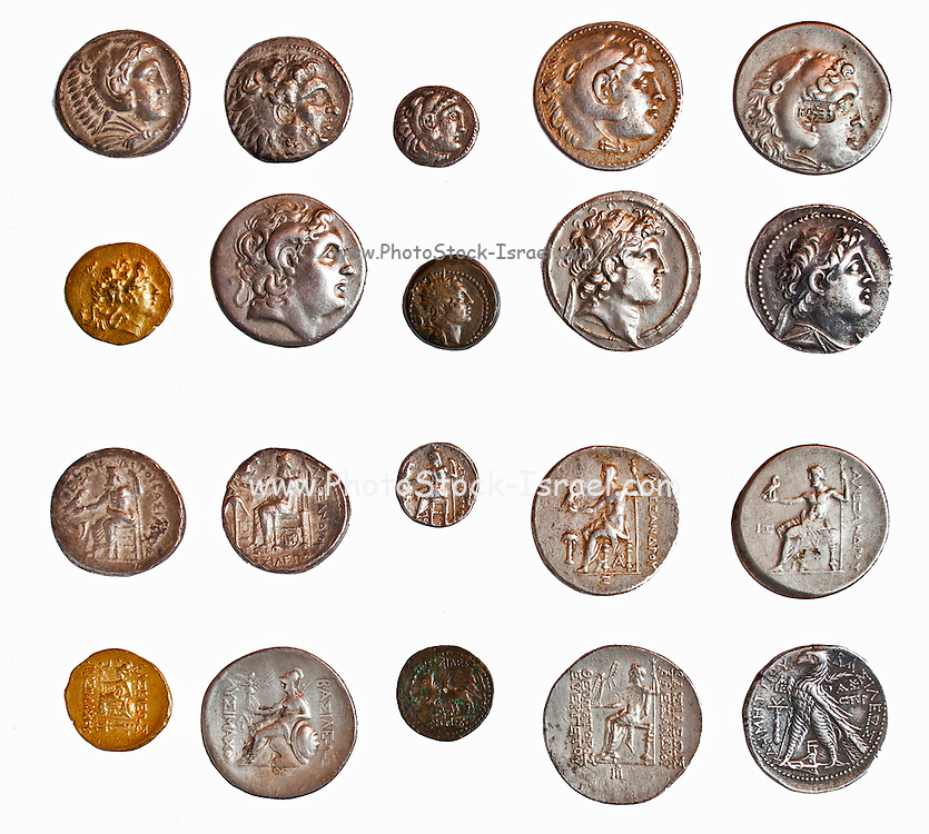 Ancient Greek coins 3rd - 1st century BCE. depicting  Alexander the Great