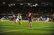 Middlesbrough's Albert Adomah put's in a cross during the Skybet football league championship match, Birmingham city v Middlesbrough at St.Andrew's in Birmingham, England on Sat 7th Dec 2013. pic by Jeff Thomas/Andrew Orchard sports photography.