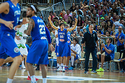 Amedeo Della Valle of Italy and Italian head coach Simone Pianigiani during friendly basketball match between National teams of Slovenia and Italy at day 3 of Adecco Cup 2015, on August 23 in Koper, Slovenia. Photo by Grega Valancic / Sportida