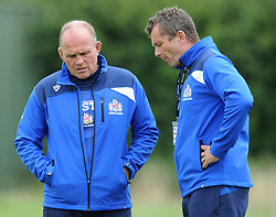 Bristol Rugby Director of Rugby Andy Robinson and Bristol Rugby First Team Coach Sean Holley talk as Bristol Rugby train ahead of the 2015/16 Greene King IPA Championship season - Mandatory byline: Dougie Allward/JMP - 07966386802 - 03/08/2015 - FOOTBALL - Clifton Rugby Club -Bristol,England - Bristol Rugby Training