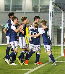 Scotland's Jamie Semple (9) cele scoring their second goal. half time : Scotland 2 v 0 Wales, Under 16 Victory Shield, Oriam 1/11/2016.