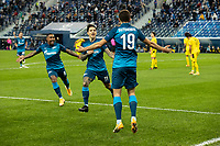 SAINT PETERSBURG, RUSSIA - DECEMBER 08: Malcom [left] and Aleksei Sutormin [right] celebrate after Sebastián Driussi [centre] opens the scoring for Zenit St. Petersburg during the UEFA Champions League Group F stage match between Zenit St. Petersburg and Borussia Dortmund at Gazprom Arena on December 8, 2020 in Saint Petersburg, Russia. (Photo by MB Media)