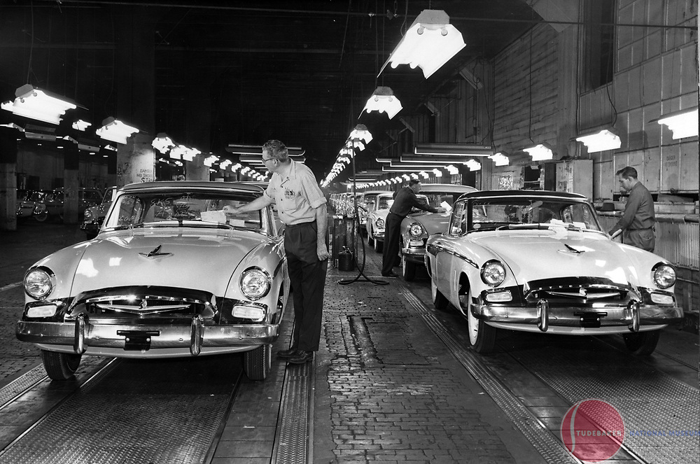 The final assembly line at Studebaker's South Bend plant, 1955 model year.