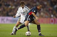 29/2/2004 Madrid, Spain.<br />La Liga (Spanish League) 26 day.<br />R.Madrid 4 - Celta 2<br />R.Madrid's Raul in duel with Celta's Luccin at Santiago Bernabeu's Stadium.
