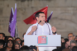May 24, 2019 - Athens, Attiki, Greece - Greek Prime Minister Alexis Tsipras gives a speech during the main rally for the European and local elections in Syntagma Square. (Credit Image: © George Panagakis/Pacific Press via ZUMA Wire)