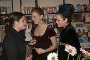 Giaconda Scott, Lady Ella Windsor and Lady Eloise Anson, Book launch of Pretty Things by Liz Goldwyn at Daunt <br />