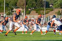 KELOWNA, BC - AUGUST 3:  Liam Hamlyn #50 blocks as quarterback Alex Douglas #1 of Okanagan Sun receives the ball against the Kamloops Broncos at the Apple Bowl on August 3, 2019 in Kelowna, Canada. (Photo by Marissa Baecker/Shoot the Breeze)