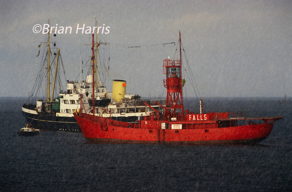 Lightships in the North Sea being towed into port before being decommissioned 1986