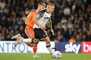 Derby County forward Martyn Waghorn strikes at goal during the EFL Sky Bet Championship match between Derby County and Cardiff City at the Pride Park, Derby, England on 13 September 2019.
