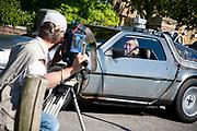 "Michio Kaku, presenter of ""Physics of the impossible , London, UK. L - R Steve Bowers the cameraman and Michio"