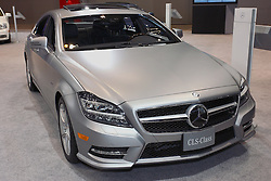 08 February 2012:  2012 MERCEDES-BENZ CLS-CLASS: The eye-catching Mercedes-Benz CLS-Class established an entirely new market segment in 2002 – the four-door Coupé. For 2012, a second-generation debuts, continuing the hallmarks of the CLS-Class: bold proportions, a long hood, compact greenhouse with frameless side windows, and dramatic roof sweeping back at an angle towards the rear. Three models are offered, including the CLS550, CLS550 4Matic and the CLS63 AMG. Buyers have their choice of rear-wheel and four-wheel drive configurations, as well as two exciting models, both powered by new biturbo, direct-injection V8s. The 4.6-liter CLS550 engine produces 402 horsepower and 443 lb. ft. of torque, and the high-performance CLS63 AMG model is powered by a 5.5L version that's rated at 518 hp and 516 lb. ft. of torque. While all CLS models are fitted with seven-speed automatic transmissions, the CLS63 AMG version includes MCT (multi-clutch technology) sports Speedshift. The CLS lavish four-passenger interior is also distinguished by a timeless design which combines elegance with innovative details and handcrafted perfection.  Chicago Auto Show, Chicago Automobile Trade Association (CATA), McCormick Place, Chicago Illinois