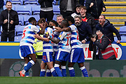 Goal, Reading celebrate John Swift of Reading goal, Reading 1-1 Wigan Athletic during the EFL Sky Bet Championship match between Reading and Wigan Athletic at the Madejski Stadium, Reading, England on 9 March 2019.