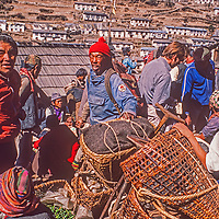 Crowds of farmers who have trekked days from lowland Nepal sell their wares at the Saturday bazar in mountainous Namche Bazaar, leading town of the Sherpa people.