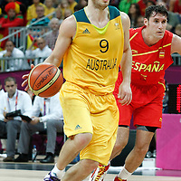 31 July 2012: Australia Brad Newley brings the ball upcourt during the 82-70 Spain victory over Australia, during the men's basketball preliminary, at the Basketball Arena, in London, Great Britain.