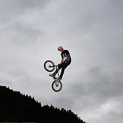 Kane O' Hagan in action during the 'Red Bull Roast It' BMX competition with riders from around the globe competing at the Gorge Road Jump Park, Queenstown, South Island, New Zealand. 18th February 2012. Photo Tim Clayton
