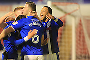 GOAL Joe Thompson celebrates his goal 0-2  during the EFL Sky Bet League 1 match between Walsall and Rochdale at the Banks's Stadium, Walsall, England on 2 January 2017. Photo by Daniel Youngs.