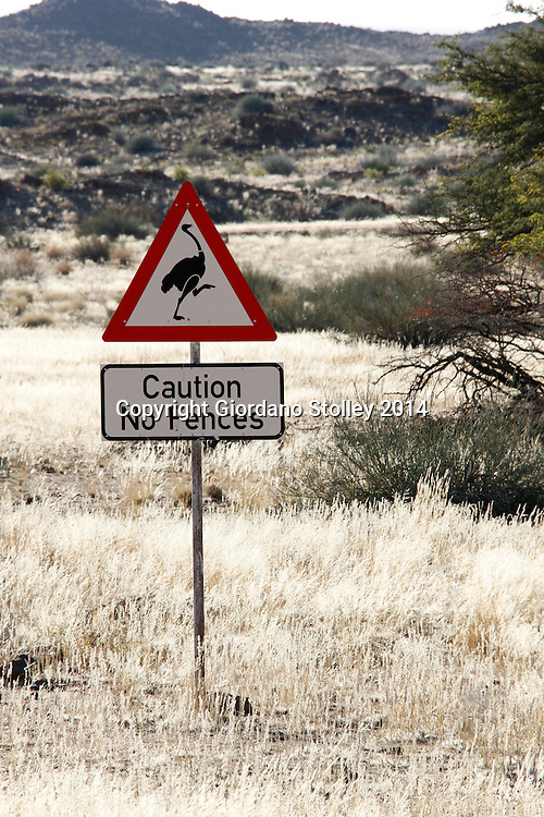 FISH RIVER - 26 June 2014 - This road sign on the way from Ais Ais to the view point over the Fish River Canyon in southern Namibia is n of the many interesting and unique road signs to be seen across the country. Picture: Allied Picture Press/APP